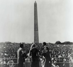 Peter, Paul & Mary performing at the March on Washington, 1963.