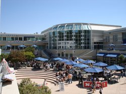 Students gather at the Price Center located in the center of the UCSD campus.