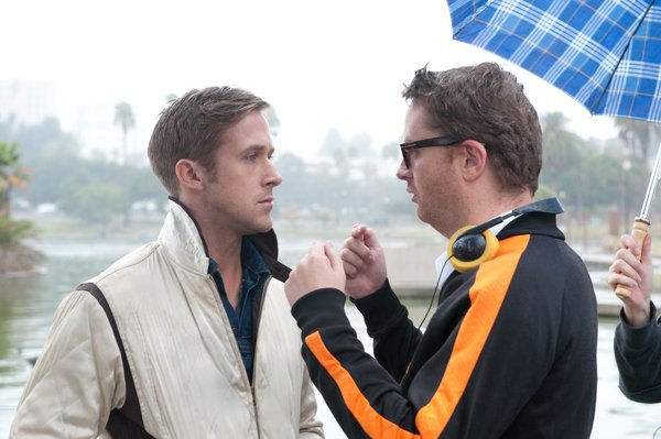 "Ryan Gosling and director Nicolas Winding Refn on the set of ""Drive."" They have at least two other projects in the works together."
