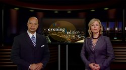 KPBS Evening Edition host Joanne Faryon with Newscast Co-Anchor Dwane Brown