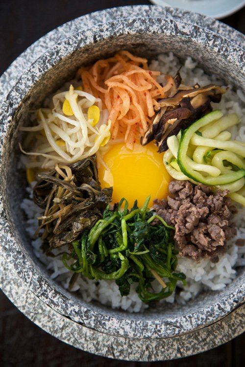 A bowl of bibimbap, a signature Korean dish.