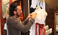 Jeffrey Parish puts finishing touches on his Art of Fashion design in his Sou...
