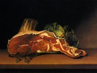 Raphaelle Peale, Cutlet and Vegetables, 1816, oil on panel, overall dimensions: 18 1/4 x 24 1/4 in., Collection Timken Museum of Art.