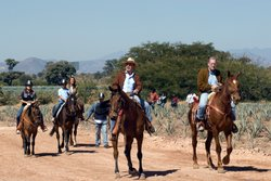President Calderon with his family and Peter Greenberg riding horses on Tequi...