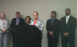 California School Boards Association Martha Fluor speaks at a news conference...