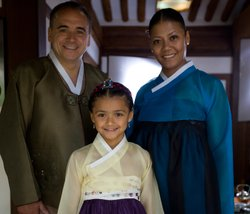 Chef Jean-Georges Vongerichten, his wife Marja with their daughter Chloe.