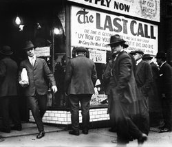 "Citizens of Detroit heeding a ""last call"" in the final days before Prohibition went into effect, 1920."