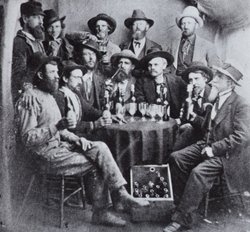 Miners drinking in a Colorado saloon, 19th Century.