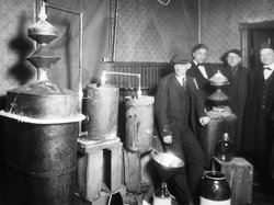 Many Americans experimented with homemade stills to make alcohol for home consumption or to sell illegally during Prohibition. This one was busted during a raid in Detroit, ca. 1920s.
