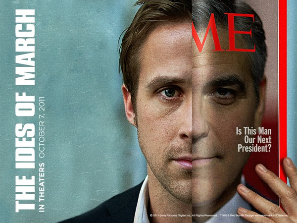 "Ryan Gosling and George Clooney in a wallpaper ad for ""The Ides of March."""