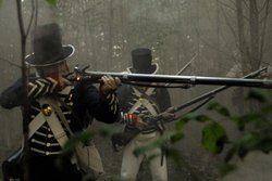 U.S. soldiers fighting at the Battle of Tippecanoe, Indiana, in a re-enactmen...