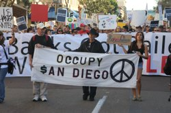 Protesters march in downtown San Diego as part of the