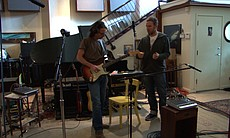 (l to r): Stone Gossard and Jeff Ament in Studio Litho, 2010.