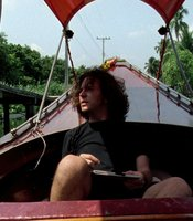 Eddie Vedder on a boat during Pearl Jam's East Asia tour, 1995.