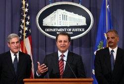 U.S. Attorney General Eric Holder (R), Preet Bharara, U.S. Attorney for the S...