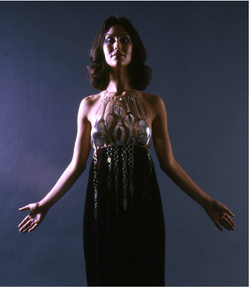 Arline Fisch, Halter and Dress, 1968, formed, fabricated silver and printed velvet by Jack Lenor Larsen (from California Design 11, 1971). Collection: Museum of Arts and Design, New York, gift of Bettianne Welch.