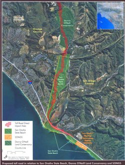 This map shows the route of the proposed 16 mile toll road that would cut through San Onofre State Beach Park.