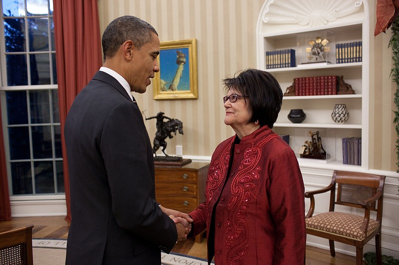 President Barack Obama meets with Elouise Cobell in the Oval Office, Dec. 8, ...