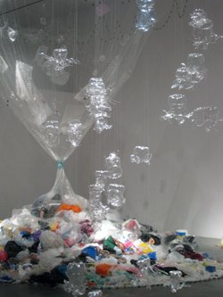 "One of the pieces in NCM's TRASH made by The Institute For Figuring. It's called ""Midden, 2007–2011,"" and it's made out of four years of household plastic trash and nets. Photo © the IFF."