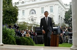 U.S. President Barack Obama walks out of the Rose Garden after delivering remarks on the death of Libyan strongman Muammar Gaddafi at the White House October 20, 2011 in Washington, DC.