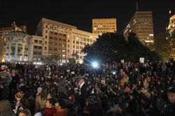 Protesters gather at Frank Ogawa Plaza on October 26, 2011 in Oakland, Califo...