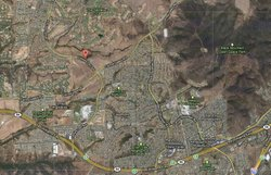 The location of a brush fire burning in San Diego's North County on Nov. 2, 2...