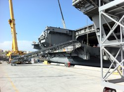 Hanger Door three on the USS Carl Vinson