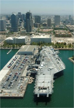 The Navy Pier in San Diego as of fall 2011. The proposed waterfront park would create grassy areas and add a 500-foot sculpture.