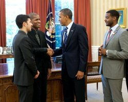 Joshua White meets President Obama after placing second in the Thelonious Monk Institute International Jazz Competition. With fellow finalists finalists Emmet Cohenand Kris Bowers. Official White House Photo by Pete Souza.