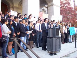 Students from U.C. Berkeley and U.C. Davis gathered at the state Capitol steps.