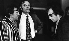 Managers Charles Joffe and Jack Rollins with Woody Allen.