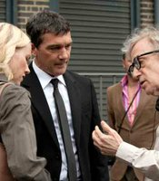 "Naomi Watts, Antonio Banderas and Woody Allen on the set of ""You Will Meet a Tall Dark Stranger."""