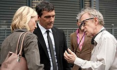 "Naomi Watts, Antonio Banderas and Woody Allen on the set of ""You Will Meet a ..."