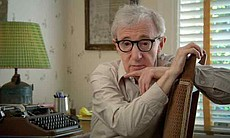 Woody Allen reveals that he has typed everything he's ever written on this same typewriter, an Olympia portable that he purchased at the age of 16 for about $40.