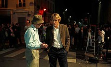 "Woody Allen and Owen Wilson on the set of ""Midnight in Paris."""