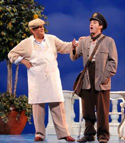 Placido Domingo as Pablo Neruda and Charles Castronovo as Mario Ruoppolo in  ...