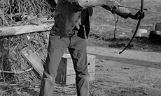 Jim McCarty with bows and arrows, Campo Reservation, Campo Kumeyaay... (13339)