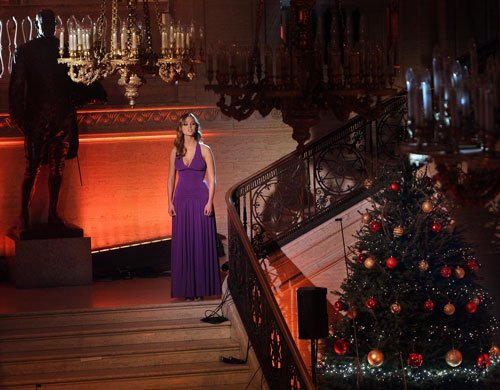 "Jayne Wisener, a Northern Irish actress and singer, performs in ""Christmas Carols With The Priests."""