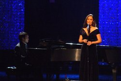 "Tia Carrere and pianist Daniel Ho perform ""Hiamoe Maika'I."""