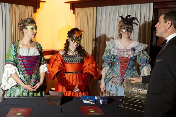 Costumed staff encouraged guests at the raffle table.