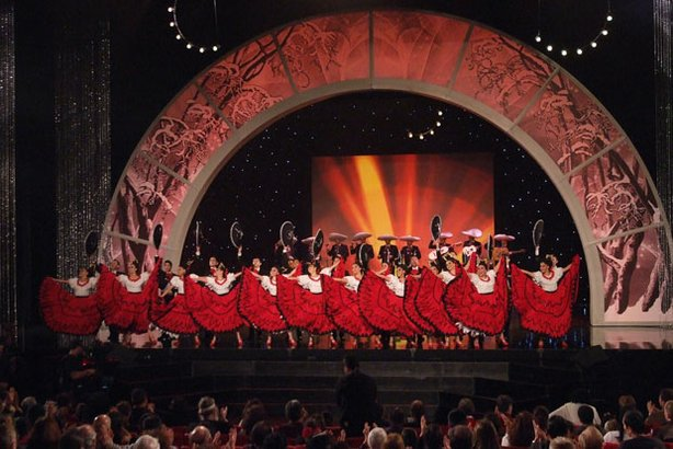 "Cultural performance with Mariachi music, flowing skirts and energy-filled footwork from ""L.A. Holiday Celebration."""