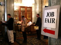 A job fair in San Francisco last month.