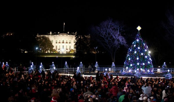 The National Christmas Tree is illuminated during the lighting ceremony on the Ellipse in Washington D.C., Dec. 1, 2011. The White House is visible in the background.