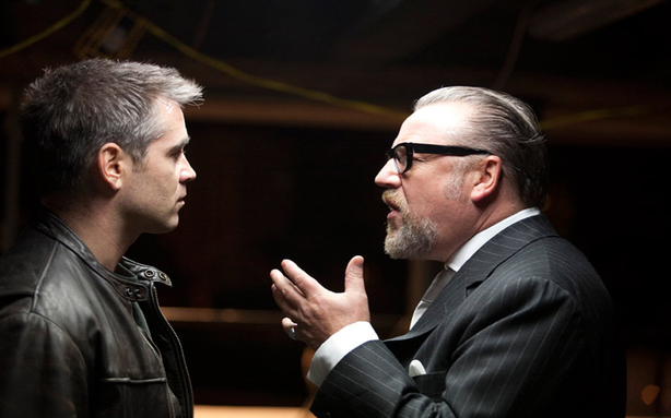 "Colin Farrell and Ray Winstone face off in ""London Boulevard."""