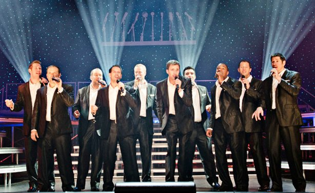 The male a cappella group Straight No Chaser performs on stage live at Harrah's Resort in Atlantic City.