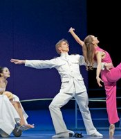 "Lloyd Riggins (The Poet), Yuan Yuan Tan (Mermaid), Tiit Helimets (The Prince) and Sarah Van Patten (The Princess) in ""The Little Mermaid from San Francisco Ballet."""