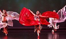 The Bellydance Superstars perform on stage, Irvine, Calif.