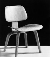 DCW (dining height chair, wood legs); molded plywood dining chair, 1946.