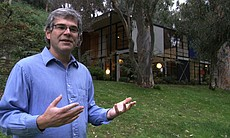 Charles and Ray Eames' grandson Eames Demetrios at the Eames House.