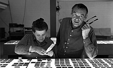 Ray and Charles Eames selecting slides for the ...